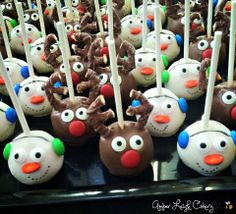 Christmas Reindeer and Snowman Cake Pops