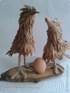 Мастер-класс Поделка изделие Праздник осени Моделирование конструирование  Что первое появилось - птица или яйцо? Клей Материал природный Пенопласт Проволока Скорлупа яичная фото 1
