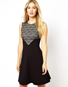 Closet Skater Dress with Lace Top