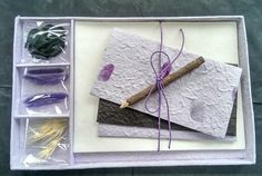 Gift Set - DIY Letter/Writing Stationery Set/Handmade Mulberry Paper/X mas/Lilac