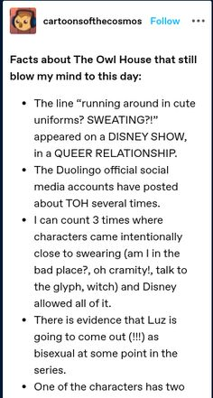 Disney Shows, Owl House, Facts