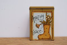 Metal Tin In Mustard Yellow Hand Painted Square Tin by Ramshackles
