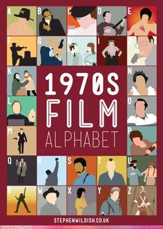 1970s Film Alphabet / Illustrated and designed by artist Stephen Wildish.