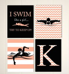 Swimmer wall art, swimming, girls gift idea, girls wall art, monogram art, inspirational art, simmer girl, choose your colors and sports by PicabooArtStudio