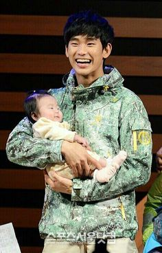 Kim soo hyun, even the little one is smiling, how cute
