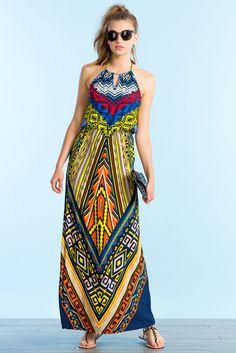 Tahiti Border Print Maxi Dress
