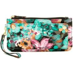 Steve Madden Patent Wristlet ($20) ❤ liked on Polyvore featuring bags, handbags, clutches, floral, wristlet clutches, patent leather wristlet, green wristlet, floral clutches and floral wristlet