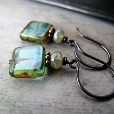 Etsy Transaction - Teal Blue Square Bead Earrings: Teal and Mint Glass Beaded Earrings, Copper
