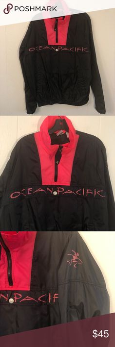 2fa2603146 Vintage OP Ocean Pacific black/neon windbreaker 1/4 zip▫️large front pocket