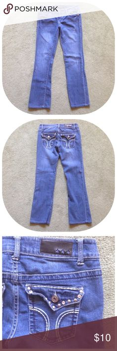 """Celebrity Pink Size 7 Blue Jeans Excellent condition; Across waist - 14"""" (stretches comfortably to 15""""), Front rise - 8"""", Inseam - 29"""", Leg opening - 6.5""""; Cotton, Spandex Celebrity Pink Jeans Straight Leg"""