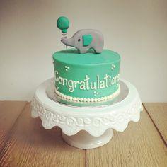 Elephant theme baby shower cake