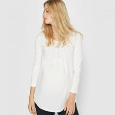 #T-shirt premaman in due tessuti Bianco  ad Euro 32.95 in #R essentiel #La redoute donna abbigliamento