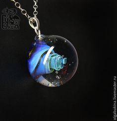 Купить Кулон галактика Вавилонская башня. Серебро. Космос, Вселенная. Голубой - серебро 925 пробы