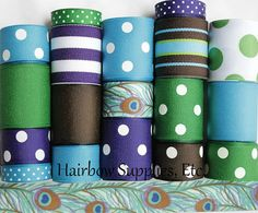 Peacock 18 yards Printed Grosgrain Ribbon by HairbowSuppliesEtc