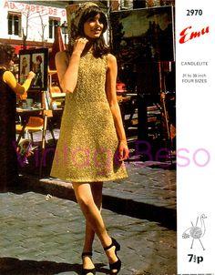 2 PATTERNS Retro 1960s Dress Knitting Pattern and Hat Crochet Pattern Emu 2970 Emu Candlelite Vintage Beso Instant Download PDF Boho Mod by VintageBeso on Etsy