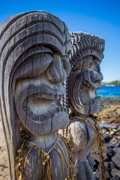 Ki'i (wooden statues) guarding the city of refuge Big Island Hawaii things to do