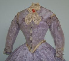 Moire gown c.1860 with accessories