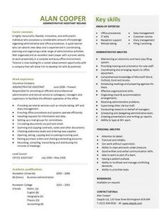 This professionally designed administrative assistant resume shows a candidates ability to provide clerical support and resolve office based problems.: