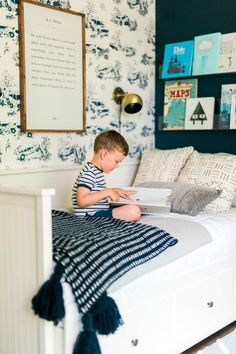 Baby room wallpaper bookshelves 66 Ideas for 2019 Big Boy Bedrooms, Shared Bedrooms, Kids Bedroom, Bedroom Decor, Boy Rooms, Kids Rooms, Bedroom Ideas, Master Bedroom, Bedroom Lamps