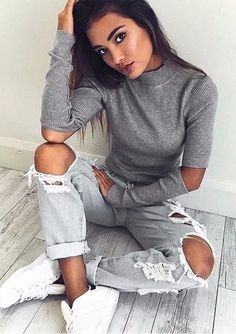 summer outfits  Grey Top + Destroyed Jeans + White Sneakers