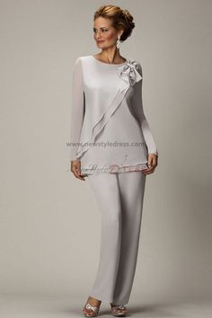 2014 Sliver New Arrival Jewel Vestidos Formales Chiffon Three Pieces Long Mother Of the Bride Suit Pants Evening Dress Mother Of The Bride Suits, Mother Of Groom Dresses, Mothers Dresses, Mother Bride, Mob Dresses, Formal Dresses, Halter Dresses, Tunic Dresses, Dress Tops
