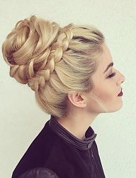 Dutch lace crown braid and updo in a middle