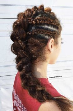 Fohawk With Dutch Braids #dutchbraid #braidedhairstyle ★ Explore cool, trendy, and easy faux hawk styles for short, medium, and long hair. They can be done on straight and on curly hair. ★ See more: https://glaminati.com/faux-hawk-women-hairstyles/ #fauxhawkhairstyle #fauxhawk #fohawk #glaminati #lifestyle