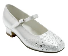 White First Communion Shoes with Heel and Strap - Large Crystal Beads - Little People 4099 - Girls Holy Communion Shoe Shop, UK, South Ascot, Berkshire