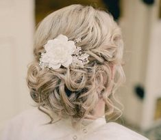 Blonde Curly Bridal Updo With Flower | Wedding | Careforhair.co.uk
