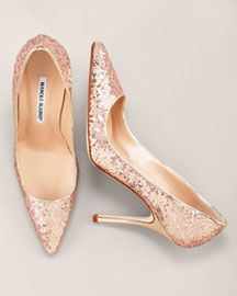 Manolo Blahnik. Classic rose gold sequined pumps