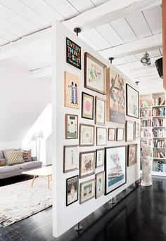 Create a collage: Mount fabric, nice greeting cards, or old patterns from the '50s in unique frames. Then cluster them together to make a chic wall collage. This is an easy way to project your taste and personality in your home—and it's inexpensive too.