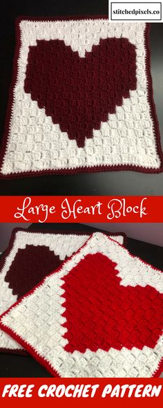 This chart can be used to make a simple, single heart afghan block. You can make several of them in the same or different colors and assemble them to make a blanket any size you like.