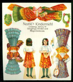 C1920 Nestle Advertising Paper Doll w 3 Costume 4 Hats for German Austrian | eBay