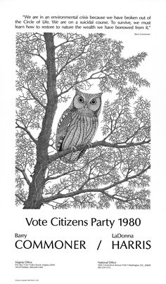 1980: Ronald Reagan (Republican) v. Jimmy Carter (Democrat) v. John Anderson (Independent) - Again I like the owl.