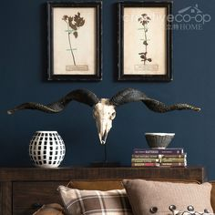 Turn of the Century Ram Skull On Metal Stand ★ Creative Co-Op Home