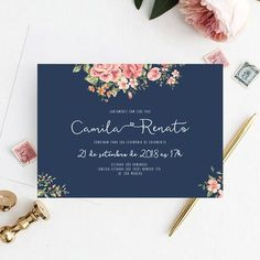 Arte digital convite casamento - floral rosa Vintage Wedding Invitations, Wedding Invitation Templates, Invitation Design, Invitation Cards, Blue Wedding, Wedding Flowers, Dream Wedding, Wedding Day, Wedding Paper