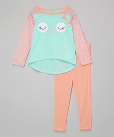 Loving this Aqua & Peach Owl Pajama Set - Infant, Toddler & Girls on #zulily! #zulilyfinds