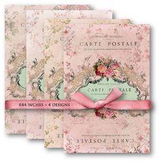 digital background images floral scrapbook | 487-Pink,French,Carte,Postale,Antique,Frame,Digital,Collage,Sheet ...
