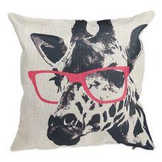 Glasses Giraffe Cotton Linen Pillow Cushion Cover Case