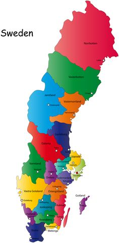 Sverige Sweden Map City Print And Print Print - Sweden map towns