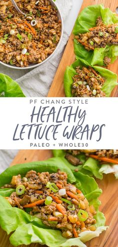 These healthy lettuce wraps are inspired by the PF Changs recipe but are totally compliant and paleo. Loaded with flavor and with lots of veggies, these healthy Asian lettuce wraps are made with pork or chicken and are a great, easy dinner Pf Changs Lettuce Wraps, Pork Lettuce Wraps, Lettuce Wrap Recipes, Lettuce Wraps Recipe Healthy, Vegetarian Lettuce Wraps, Whole30 Dinner Recipes, Asian Dinner Recipes, Clean Eating Recipes For Dinner, Healthy Clean Dinner