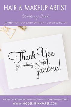 Vendor thank you cards, Make up artist thank you cards, Hair stylist thank you cards