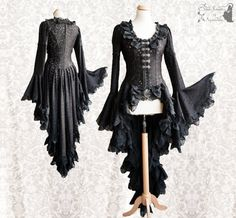 ➸ This romantic black lace cardigan Maeror is inspired by late Victorian fashion, adjusted to own design. It is made of a polyamid stretch lace, hemmed with lots of scalopped lace. It has puff sleeves which flare out and closes with silver tone metal clasps. The skirt is semi-circlewide.  ➸ Youll receive the very item in the pictures. All items of Somnia Romantica are OOAK or made in small quantities. All items are premade and ready to ship. I ship out in 1-3 days after purchase, priority…