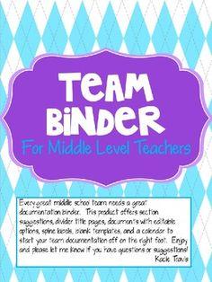 Middle School Binder for Teacher Teams.  Great for documentation!