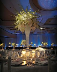 Reception Décor: Tall Centerpieces