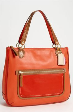 COACH Poppy Colorblock Leather Tote available at Nordstrom. This might have to be my summer bag.