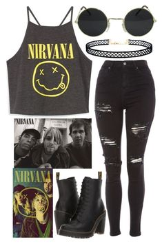 """""""Nirvana"""" by brooklyn338 ❤ liked on Polyvore featuring Dr. Martens, Topshop and LULUS"""