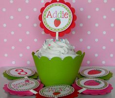 12 Strawberry Birthday Party Cupcake by sweetheartpartyshop, $10.00