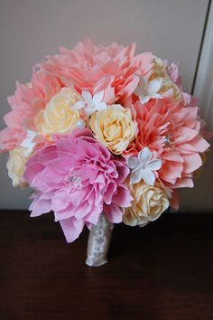 Dahlias For Wedding Flowers | Pink Dahlia paper flower wedding bouquet | Handmade Flowers