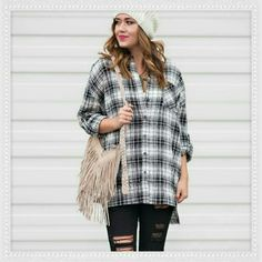 """Boyfriend Top Brand new Boyfriend Top in Black & White plaid print is a versatile easy piece to wear. Top is very Oversized, buttons all the way, has button tabs to keep the sleeves rolled up in place and has side pockets. Slight high low hem. Brand new with tags. 100% cotton   ✂ Bust approx 27.5"""" across length 32"""" in front 35""""        back side   NO TRADES   ✔   PRICE IS FIRM UNLESS BUNDLED Tops Button Down Shirts"""